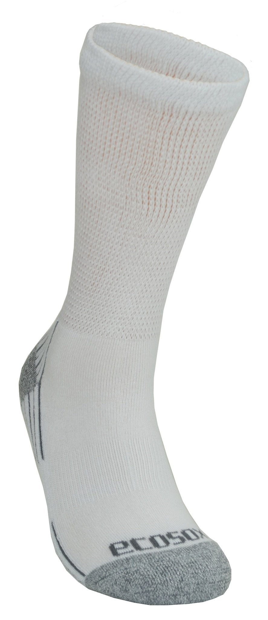Diabetic Socks - Crew with Arch Support (Pack of 3 OR 6) Viscose from Bamboo by Ecosox Sizes Med 9-11, Large10-13, XL12-15 (White Grey 9-11, 6 Pack)