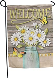 LAYOER Home Garden Flag 13 x 18 Inch Decoration Double Sided Flowers Butterfly Welcome 12 x 18 Inch