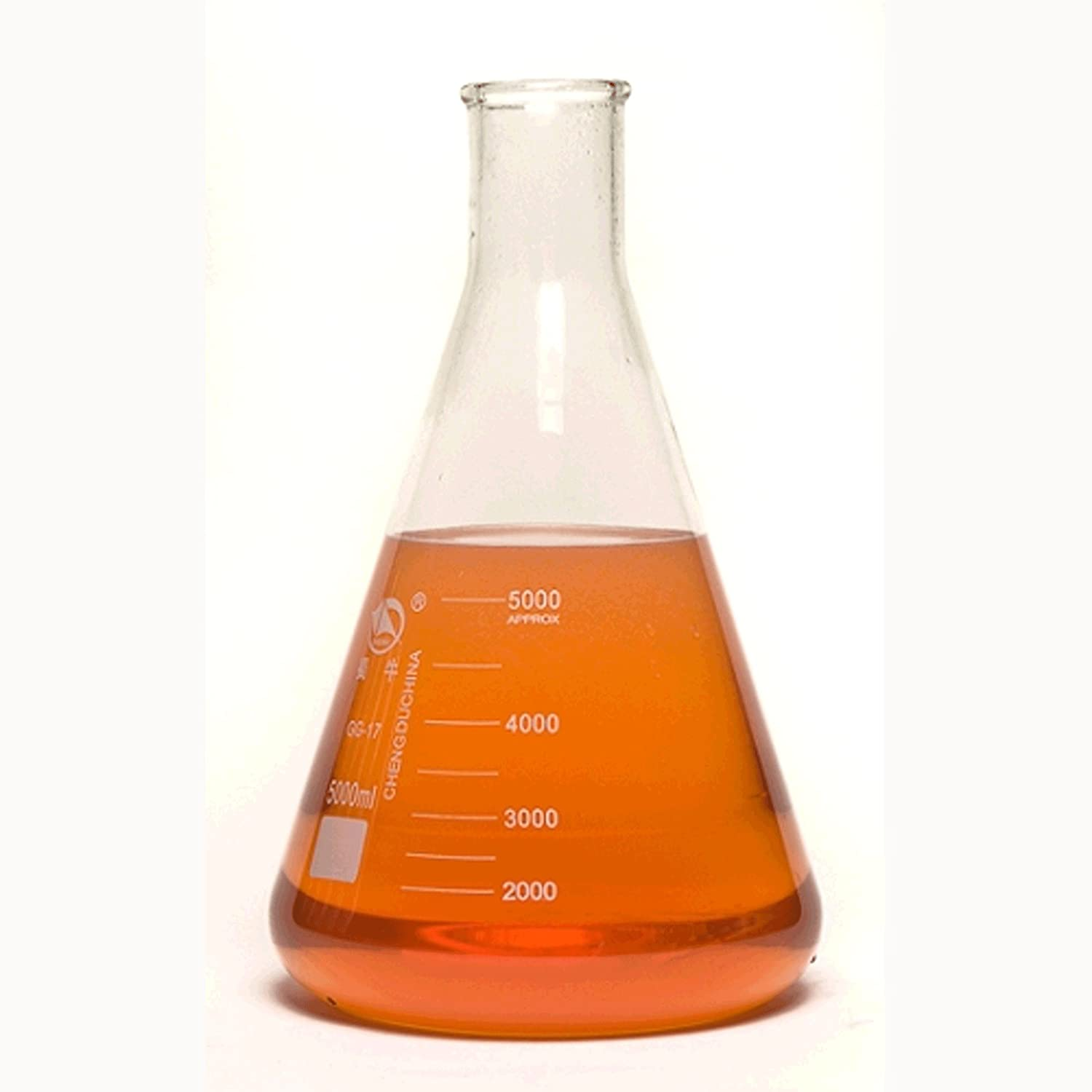 United Scientific FG4980-5000 Borosilicate Glass Narrow Mouth Erlenmeyer Flask, 5000ml Capacity United Scientific Supplies