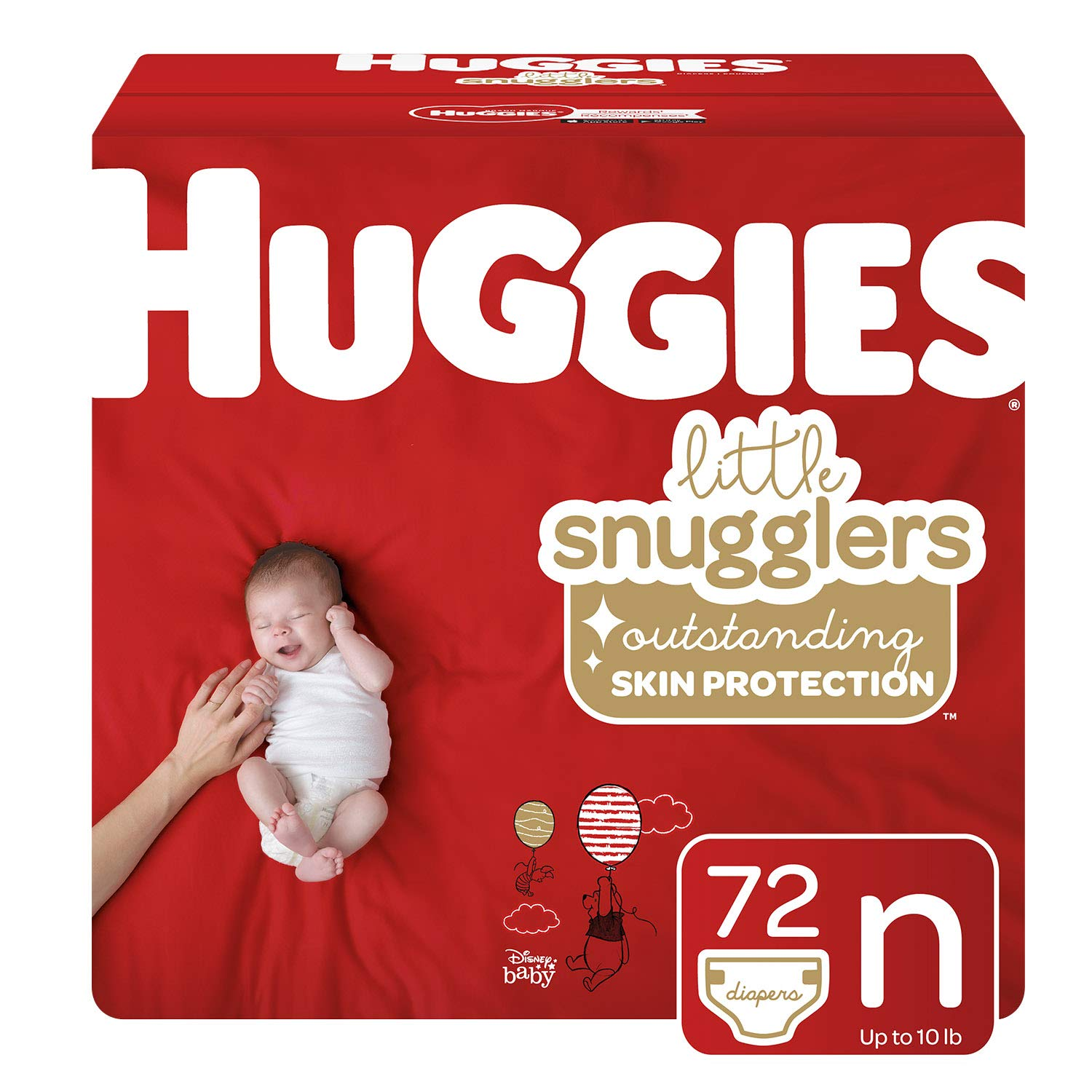 Huggies Little Snugglers Baby Diapers, Size Newborn (up to 10 lb.), 72 Ct, Big Pack (Packaging May Vary)