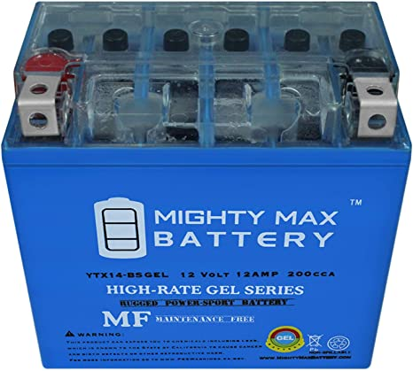 12V 2Amp Charger Mighty Max YTX12-BS GEL Replaces Honda GL1500 Valkyrie 97-03