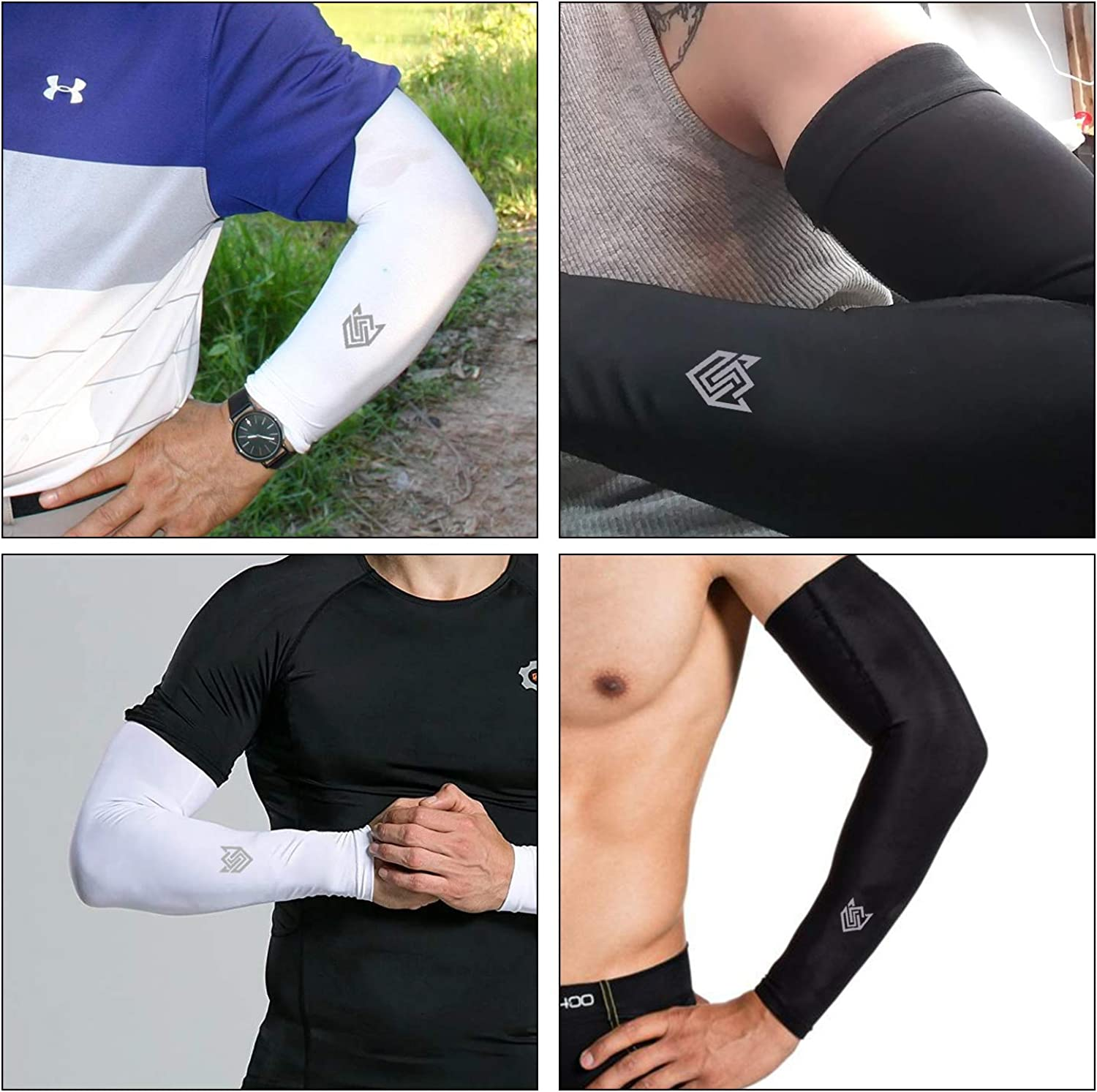 2 Pairs Cooling Arm Sleeves UPF 50 UV Sun Protection Compression Sports Sleeves for Men /& Women