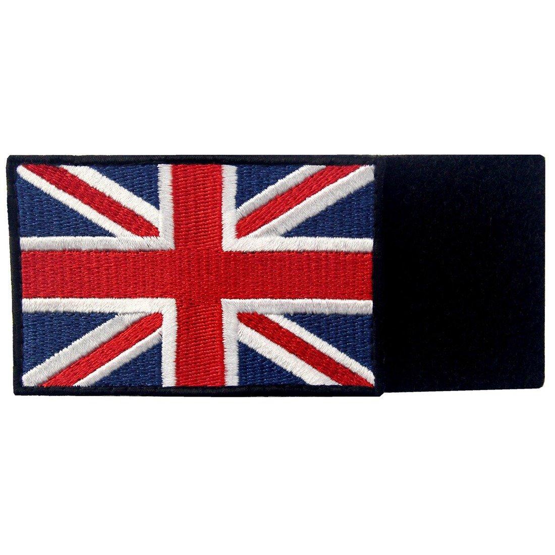 Tactique Britanique Union Jack Drapeau de lAngleterre Grande Bretagne Embl/ème national Brod/é /à Repasser ou /à Coudre Patch Blanc noir