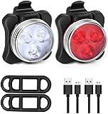 Luces para Bicicleta, Luz Lámparas Delanteras y Traseras Recargable - Luz de la Cabeza de Seguridad para Ciclismo de…
