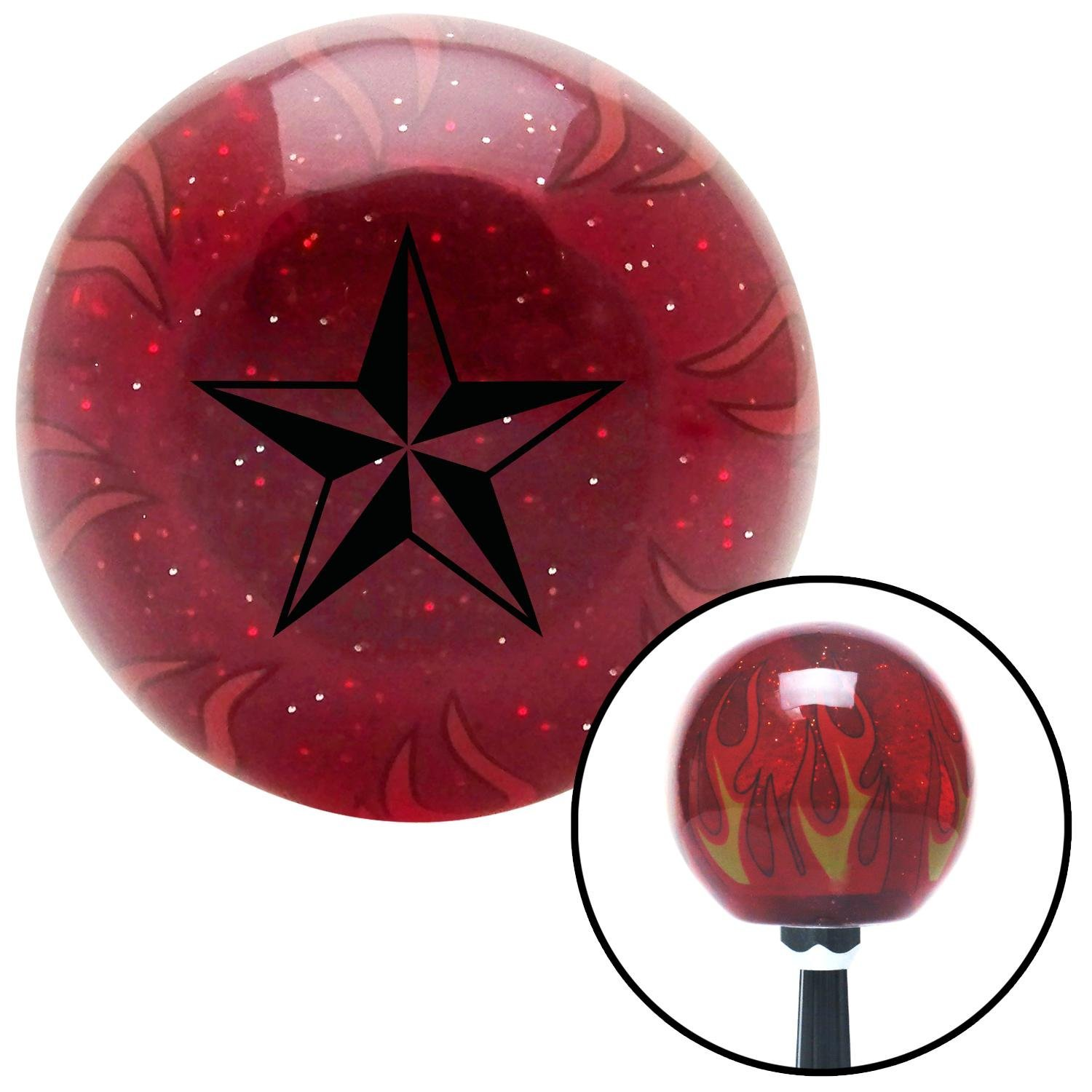 American Shifter 239447 Red Flame Metal Flake Shift Knob with M16 x 1.5 Insert Black 5 Point 3-D Star