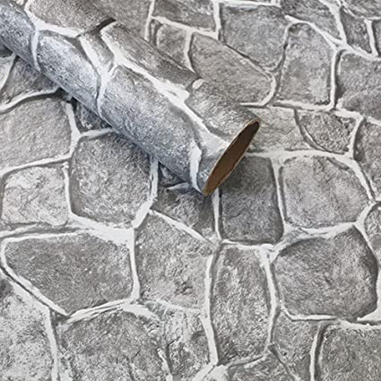SimpleLife4U Grey Stone Brick Contact Paper For Countertops Vinyl Wall  Decor Sticker Pre Pasted 17.7
