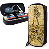 Hamilton The Musical Quotes Leather Pencil Case Pouch Zippered Pen Box School Supply for Students Big Capacity Stationery Box Travel Makeup Pouch Bag for Girls Boys and Adults (Hamilton, One Size)