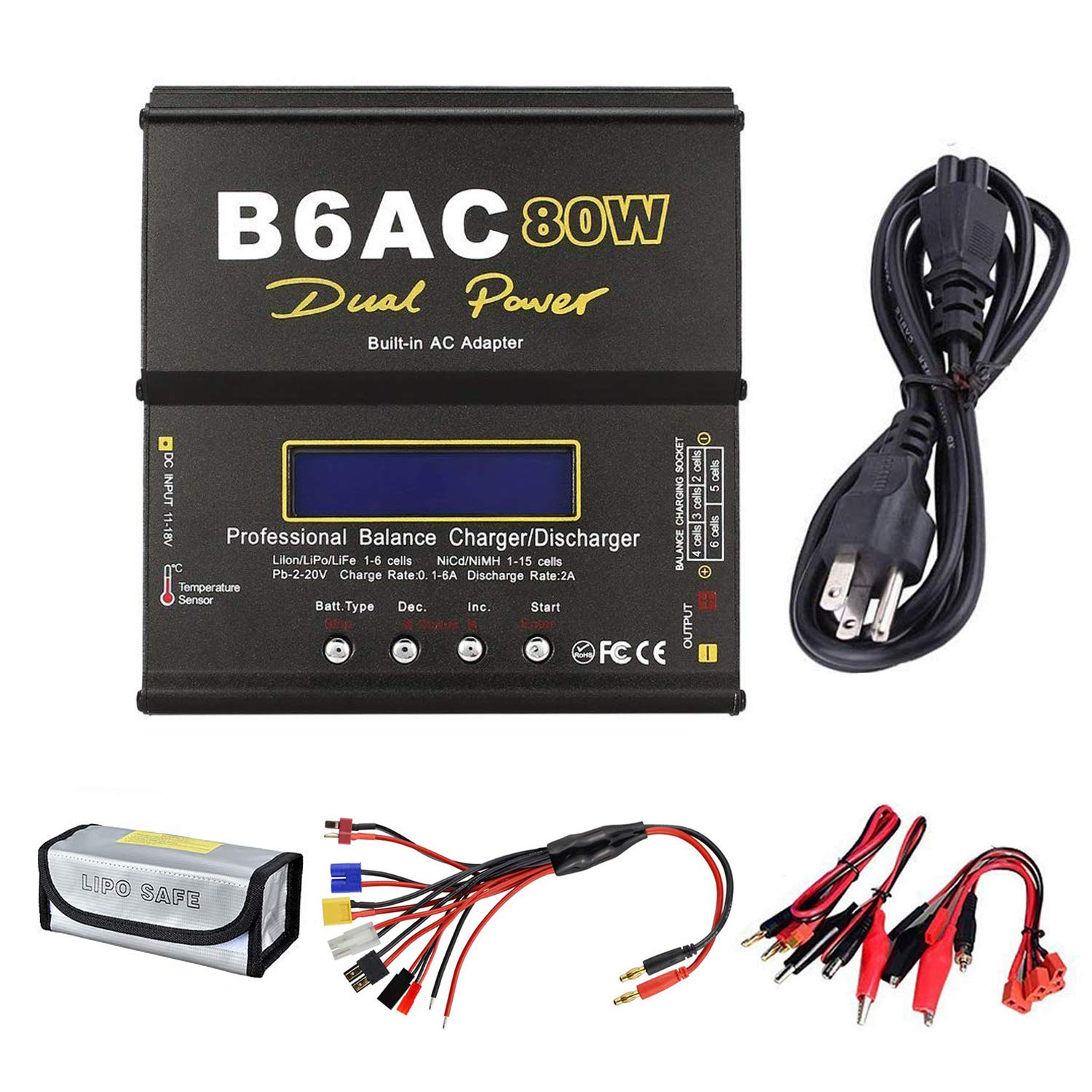 Skytoy Lipo Battery Balance Charger Discharger 1S-6S Digital Battery Pack Charger with Power Supply for NiMH/NiCD/Li-PO/Li-Fe Packs RC Hobby Battery Charger w/Tamiya/JST/EC3/HiTec/Deans Connectors