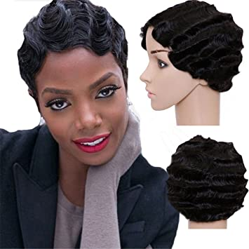Pixie Cut Short Finger Wave Wig Synthetic Hair Natural Black Retro Mommy Wig