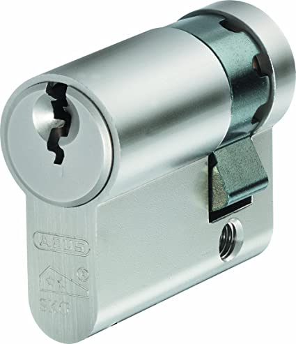 ABUS E60N1040 - Medio cilindro antitaladro para cerradura (acero con acabado niquelado, perfil europeo