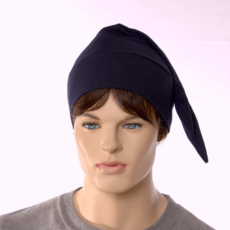 Night Cap Navy Blue Pointed Nightcap with Pompom Cotton Adult Men Women