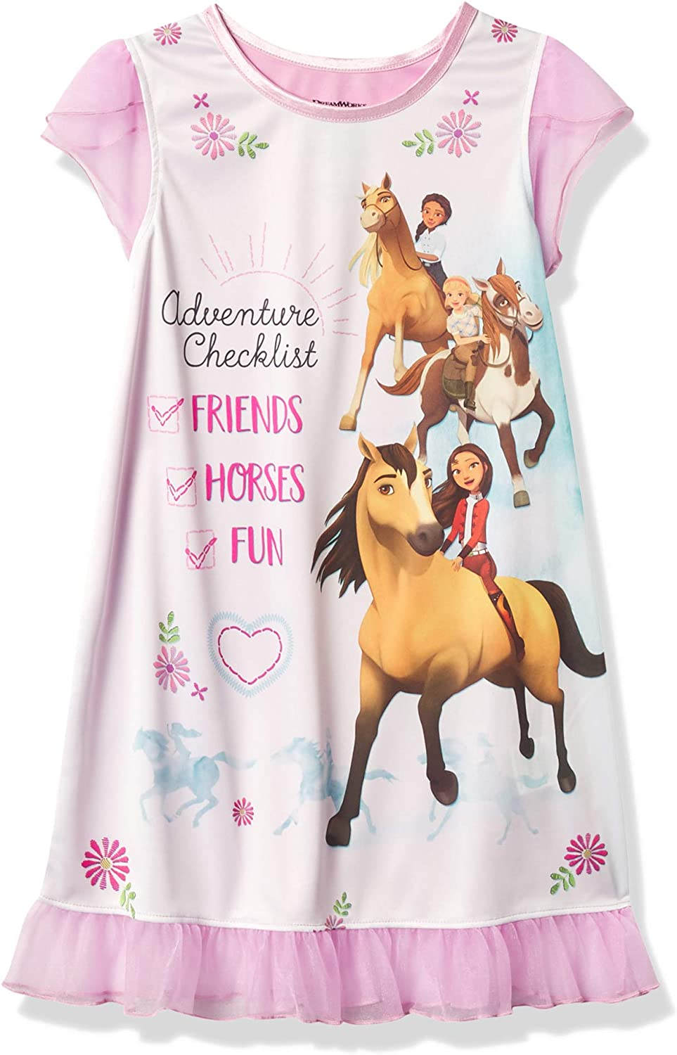 Spirit Horse Girl/'s Free Spirit Pink Floral Nightgown with Doll Gown Set
