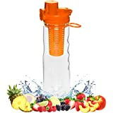 FlavFusion 25 oz Infuser Water Bottle with Locking Flip Top Lid