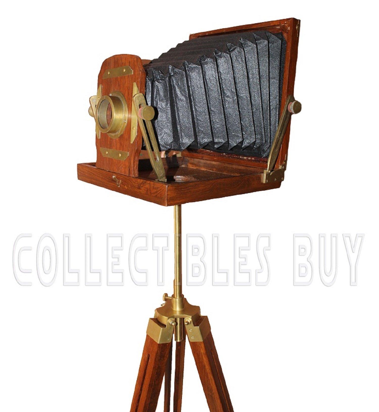 Wooden Film Slide Old Retro Camera Xmas Gift 12''x12''x13'' Brown