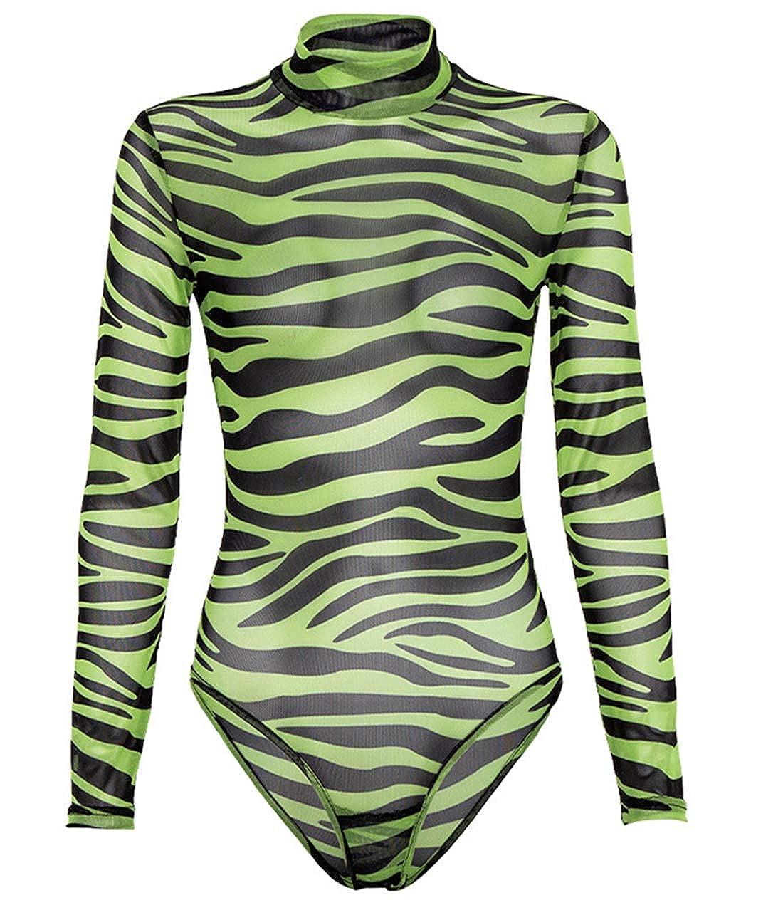Damen Bodysuit Strampler mit Animal-Print Bodys Tops Overalls Jumpsuit Lang/ärmliges Figurbetontes Oberteil Trikot mit Schlangenmuster