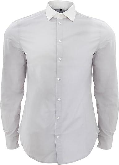 SOLS - Camisa Formal de Popelina Contraste mangaalrga Mdoelo ...