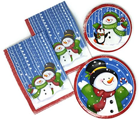 Christmas Paper Plates and Napkins Snowman and Penguin Bundle of 3 Service for 16  sc 1 st  Amazon.com & Amazon.com: Christmas Paper Plates and Napkins Snowman and Penguin ...