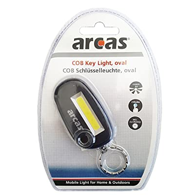 'Arcas 30700038Lampe COB Porte-clés, Env. 6x 3x 1cm Assortis en noir, rouge ou vert tilleul, plastique, rouge, citron vert, noir, 6x 3,3x 1,2cm