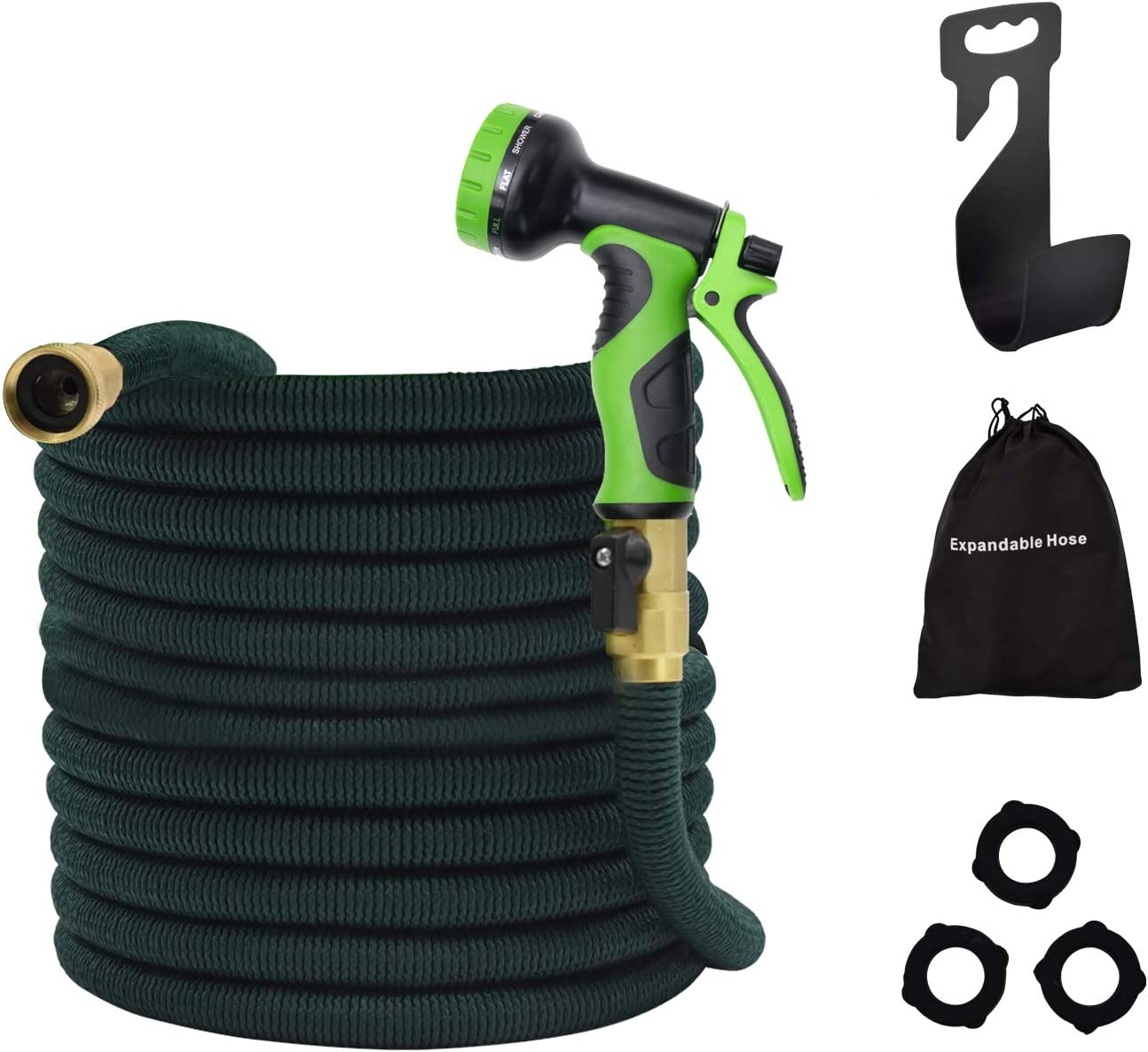 Besiter Flexible and Expandable Garden Hose - Strongest Triple Latex Core with 3/4 Solid Brass Fittings Free 8 Function Spray Nozzle, Easy Storage Kink Free Pocket Water Hose (50FT)