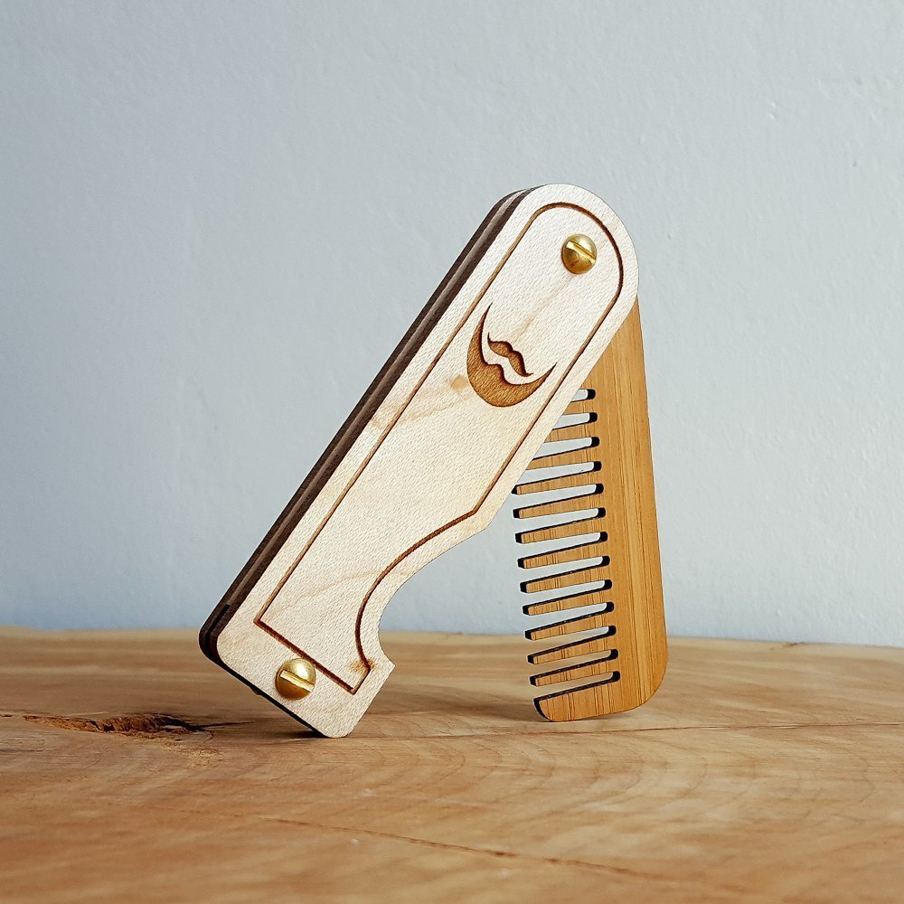 Folding Wood Beard Comb - Maple Hardwood and Bamboo