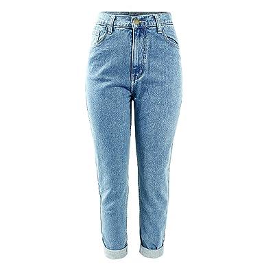 97de9741 Yamed Women's High Waist Washed Light Blue Denim Pants at Amazon ...