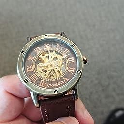 Amazon Co Jp Manchda メンズ手首腕時計ファッション茶色革バンド特別バーリーウッド ダイヤル男性ギフト ボックスの自動機械腕時計 腕時計