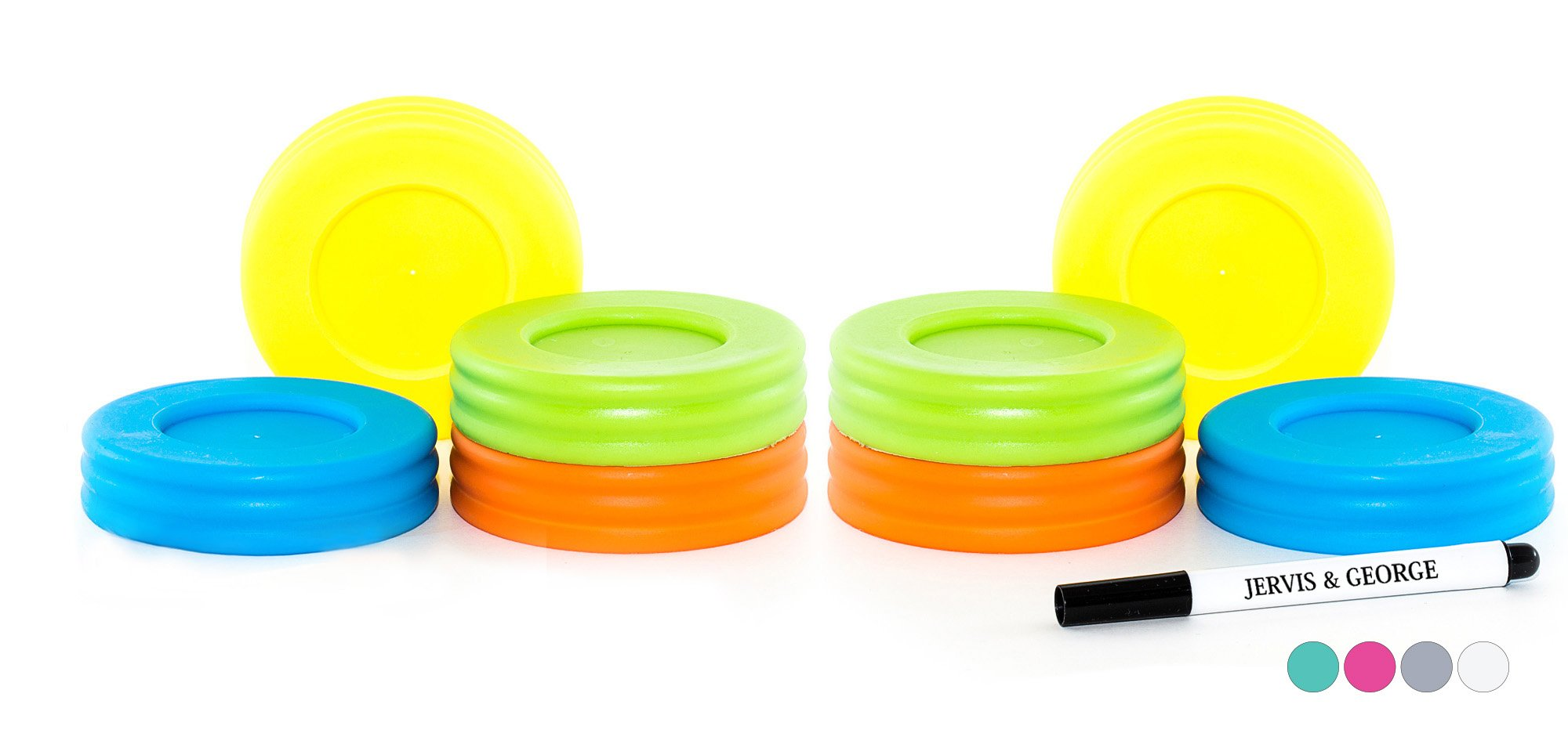 Mason Jar Lids - Compatible with Regular Mouth Size Ball Jars - Reusable and Leak Proof Plastic Lids are BPA Free - Includes Pen for Marking - Green, Orange, Yellow & Blue - Pack of 8