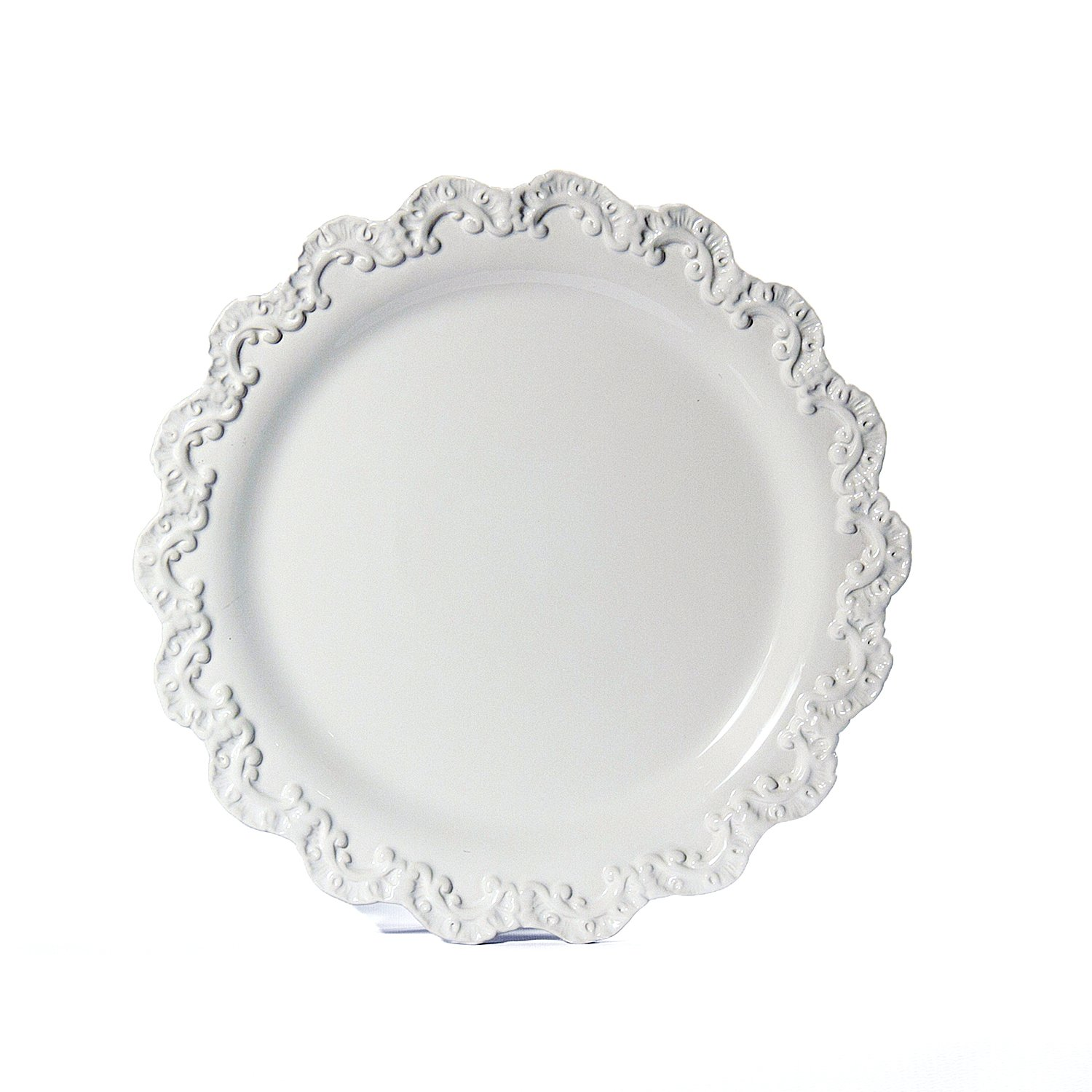 Christmas Tablescape Décor - White Baroque Charger Plate by Intrada