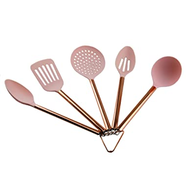 COOK with COLOR 5 Piece Pink Nylon Cooking Utensil Set on a Ring with Rose Gold Copper Handles