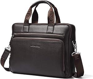 BISON DENIM Mens Briefcase Leather Business Work Bag 14 Inch Laptop Messenger Bag Ipad Briefcase Handbag for Men (Large Brown-3C)