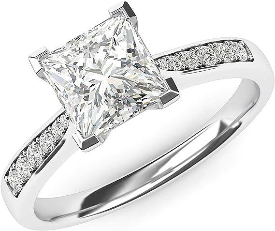 Bague de fian/çailles classique en argent sterling 2 carats imitation diamant 6 griffes avec pierres lat/érales
