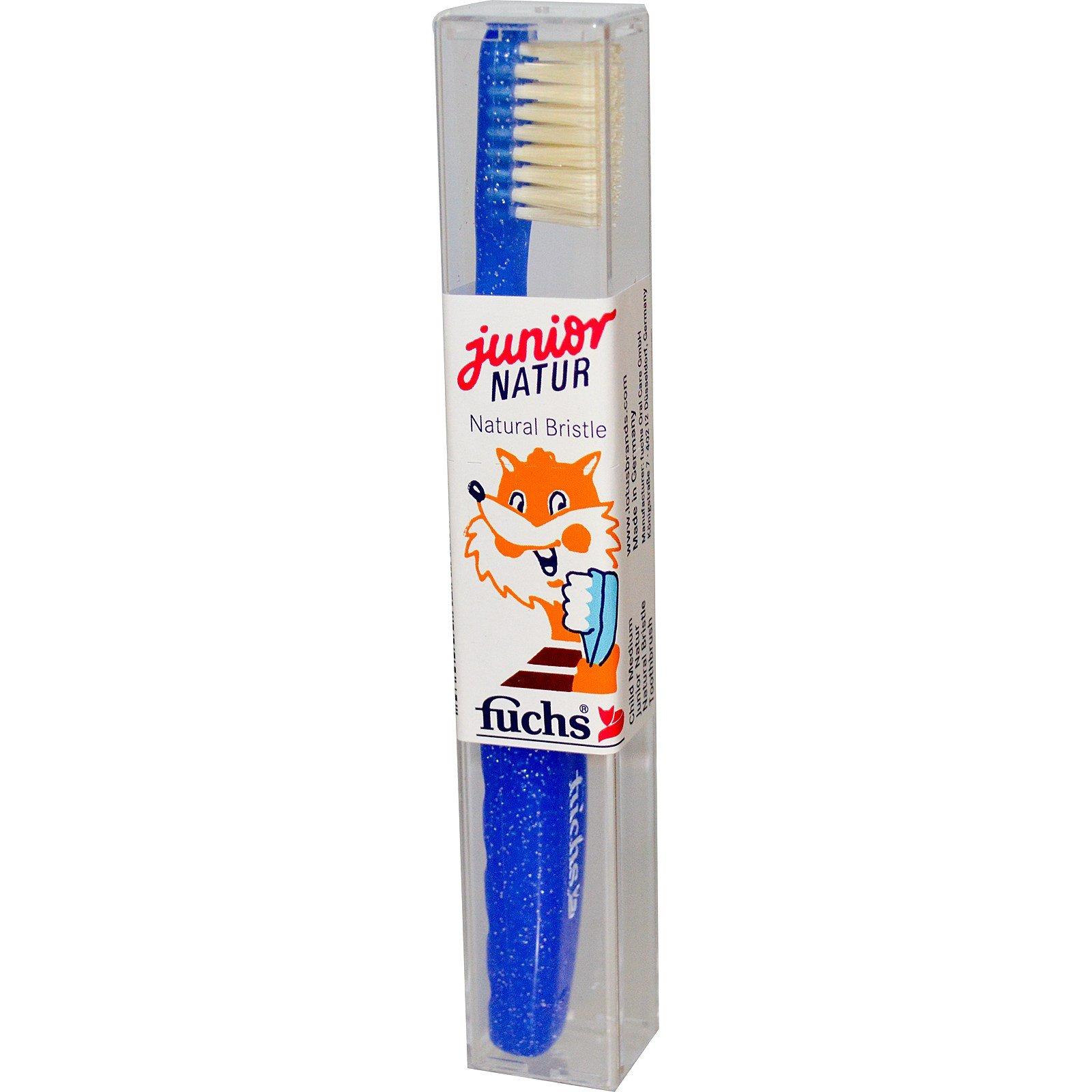 Fuchs Brushes, Junior Natur Natural Bristle Toothbrush, Child Medium, 1 Toothbrush - 3PC