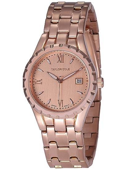 Taylor Cole Reloj Mujer de Moda, Acero Inoxidable Analógico Cuarzo Reloj color Oro rosa TC028