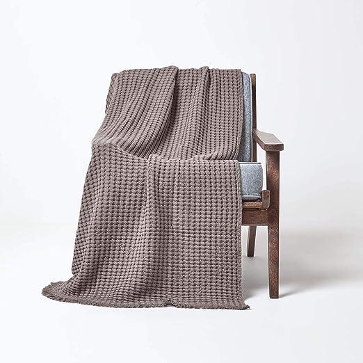Homescapes - Manta para sofá con Bordes con Flecos y Textura de ...