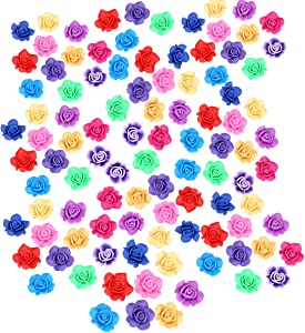 50 Pack Flower Rose Slime Charms Assorted Colors Floral Resin Cabochons Flatback Beads for Fairy Garden Miniature Jewelry Making Accessories Home Decorations Supplies