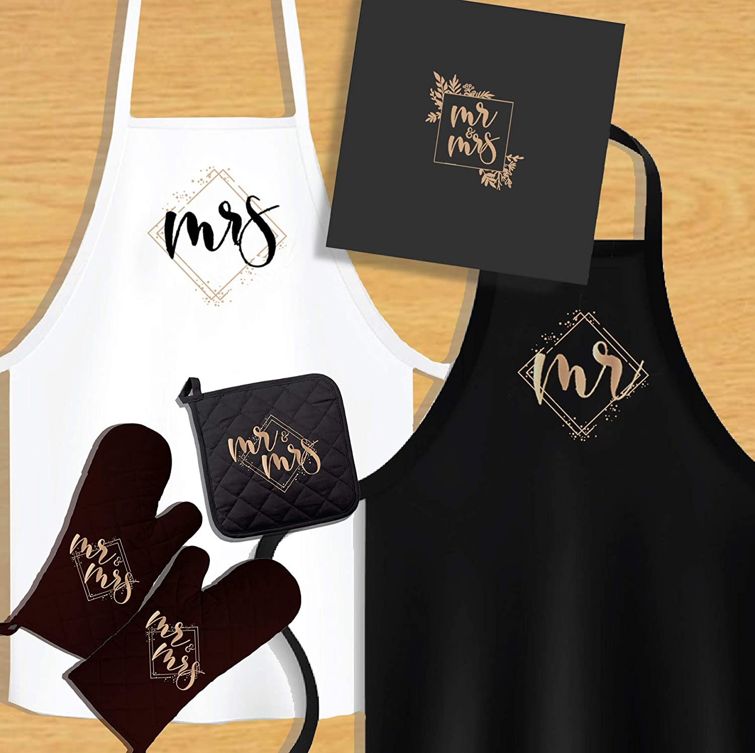 KEDRIAN Mr And Mrs Kitchen Set (5 Pieces), Couple Gifts, Wedding Gifts For Couple, Best Engagement Gifts For Couples, Mr And Mrs Gifts, Package Includes Oven Mitts, Pot Holder, Aprons For Couples, His