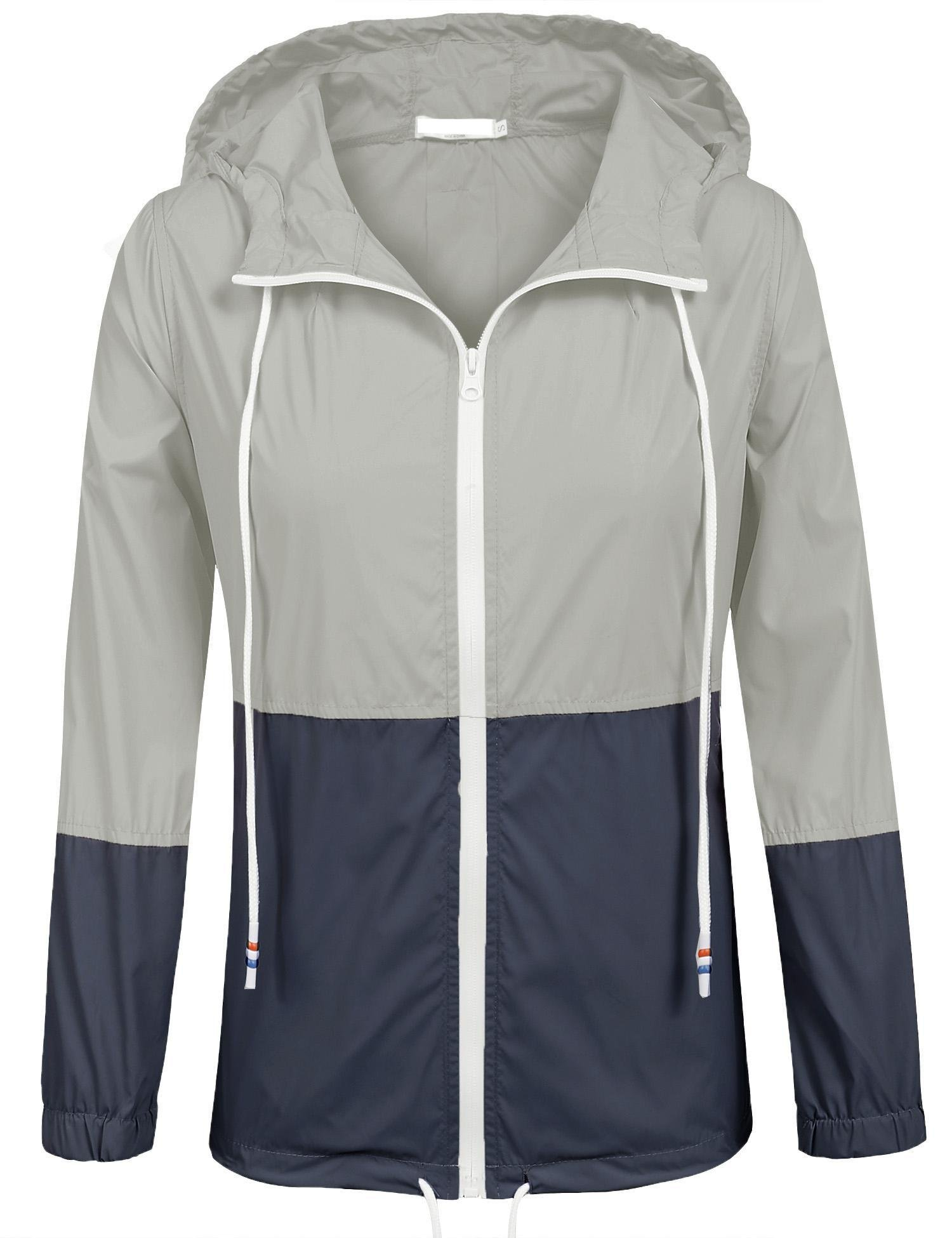 SoTeer Womens Rainwear Active Outdoor Hooded Cycling Packable and Lightweight Jacket (Gray/Navy S)