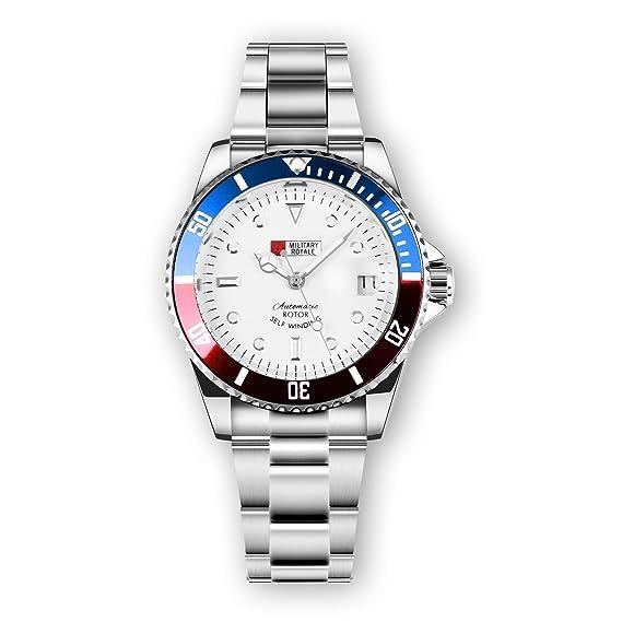 MILITARY ROYALE Hombre Cuerda Automática Reloj Plata Bisel Acero Inoxidable Azul Rojo: Amazon.es: Relojes