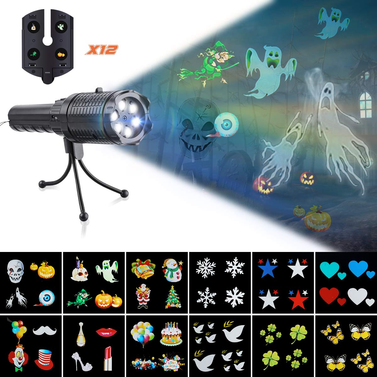 CAMTOA Handheld Projector Lights LED Projector Christmas Flashlight with 12 Replaceable Animated Pattern Slides and Tripod, Battery-Operated 2 in 1 Decoration Lamp for Kids,Party,Christmas,Halloween