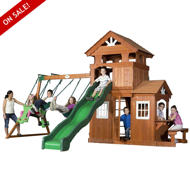 木製スイングセットCedar Woodセット子供用Playcenter for Girls Boys物理アクティビティand練習安全家具Children Fun Play – Skroutz B075MJS6XF