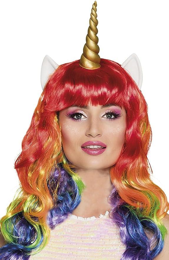 Générique Boland - PE721 - Peluca Multicolor de Unicornio con Orejas y Cuerno de látex: Amazon.es: Juguetes y juegos