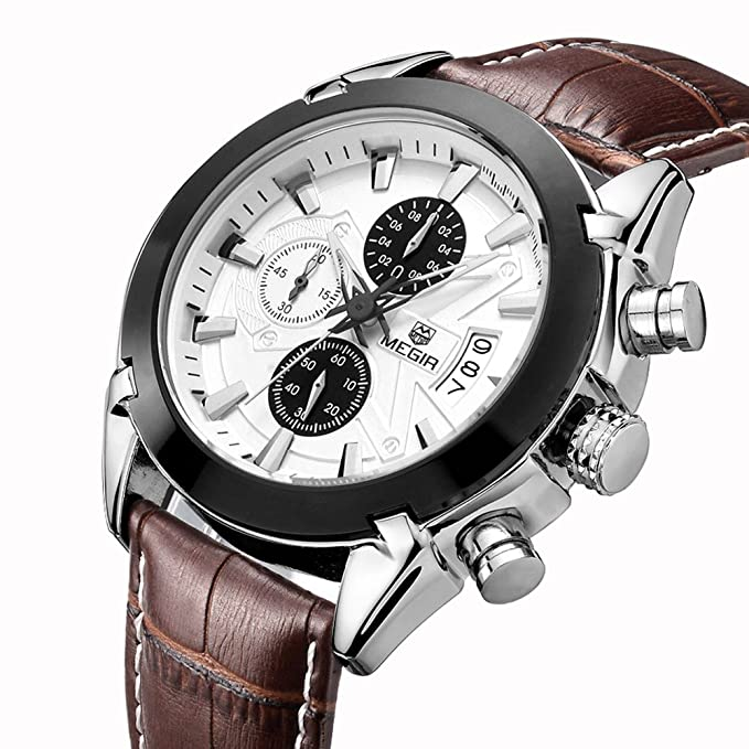 Amazon.com: Megir Army Analog Chronograph Luminous Leather Sport Quartz Wrist Watches for men Calendar Date Brown …: Megir: Health & Personal Care
