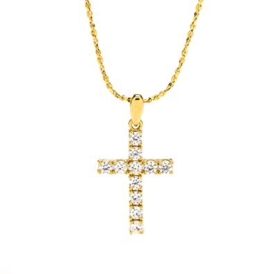 Amazon cross necklace cubic zirconia pendant 24k gold premium cross necklace cubic zirconia pendant 24k gold premium overlay fashion jewelry guaranteed for life aloadofball Gallery
