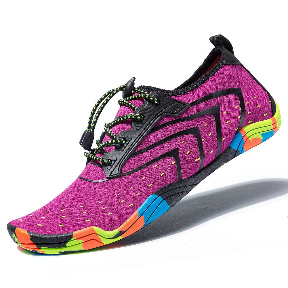 MEET Women Men Unisex Lightweight Water Shoes Quick-Dry Barefoot Flexible Beach Swim Shoes (Size 40 =US Women 9 / Men 7.5, Purple)
