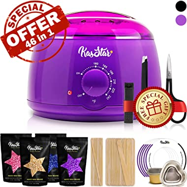 Professional Wax Warmer - KasStar Waxing Kit Hair Removal for Rapid Waxing of All Body with 4 Scents Hard Wax Beans 30 Wax Applicator Spatula Sticks 5 Protective Collars 3 Small Bowls and SPECIAL GIFT