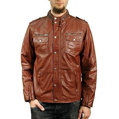 c1f83aa590a93 Blouson homme cuir doux véritable marron clair style biker motard rétro  vintage