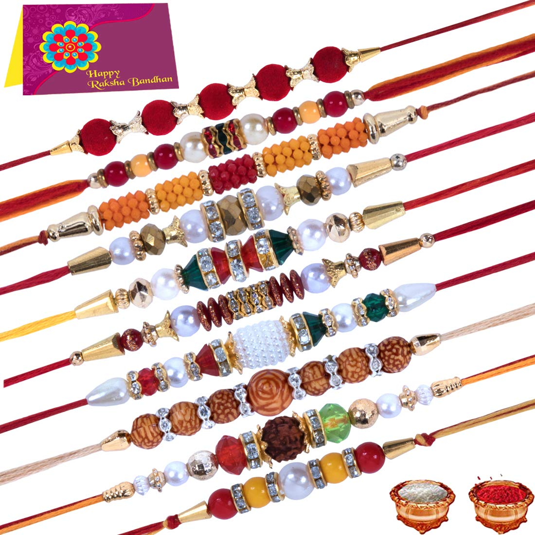 Get 50% Off on Multicolor Combo of 10 Dora Rakhi Set for Men with Roli Chawal Best Wishes Greeting Card