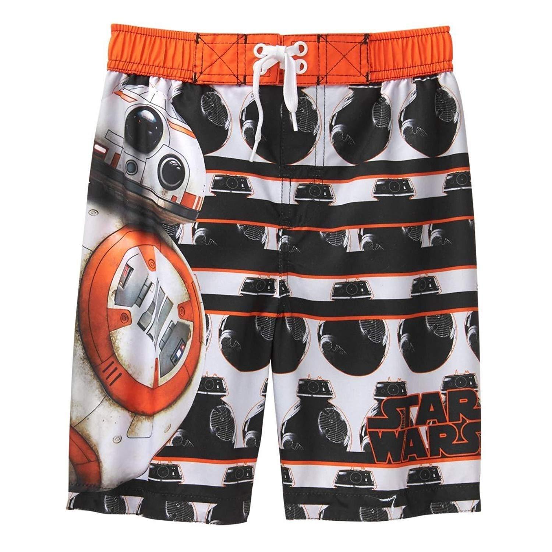 Disney Star Wars Boys Swim Trunks Swimwear (5, BB8 Orange)