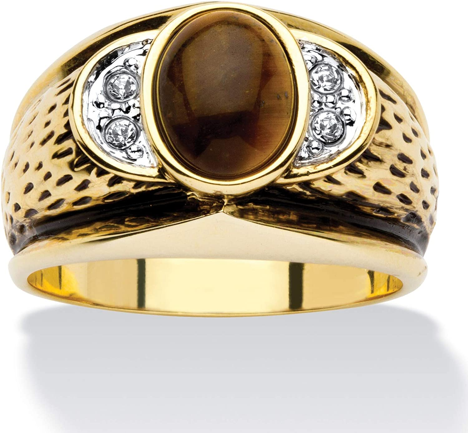 Palm Beach Jewelry Men's 14K Yellow Gold Plated Antiqued Oval Cut Genuine Brown Tiger's Eye and Round Crystal Ring