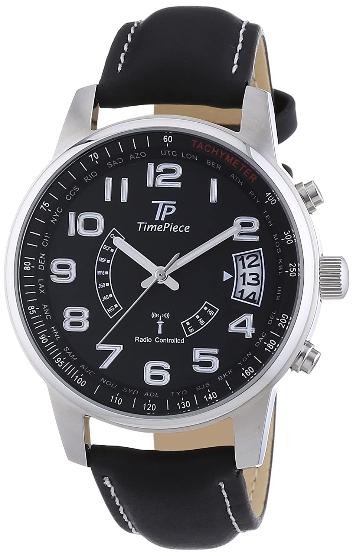Time Piece Herren-Armbanduhr XL Funk Analog Quarz Leder TPGS-10287-22L